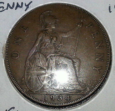 1934 Great Britain  Penny Great Detail, Very Nice