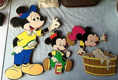Disneys Vintage Mickey Mouse and friends cardboard wall hangings