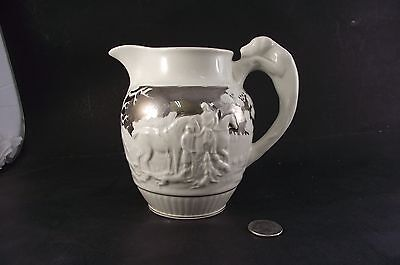 """Wedgewood Eturia 5""""  Hunting Dog Pitcher With Silver Overlay"""