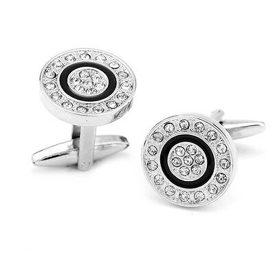 Gift Bag + Quality Silver Plated Vintage cuff links With Crystal Round Cufflinks