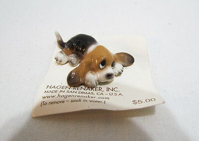 Hagen-Renaker Basset Hound Pup Miniature Ceramic Dog Figurine On Original Card