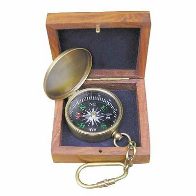 G4286: Small Pocket Compass with carabiner, Old brass in Noble wooden box