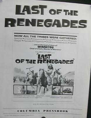 Lex Barker Karl May Last Of The Renegades Western Uncut Orig U.s. Pressbook