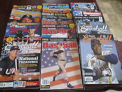 Lot of 15 Beckett Baseball Card Price Guides Monthly Magazines 2001-2015