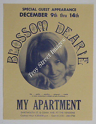 RARE handbill for BLOSSOM DEARIE at the My Apartment Lounge, Boston, Dec 1968