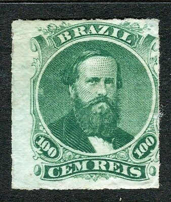 BRAZIL;   1866 Scarce early classic Dom Pedro issue Mint hinged 100r. value