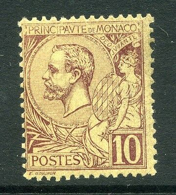 MONACO;  1891 early classic Albert issue 10c. brown/yellow Mint UNMOUNTED