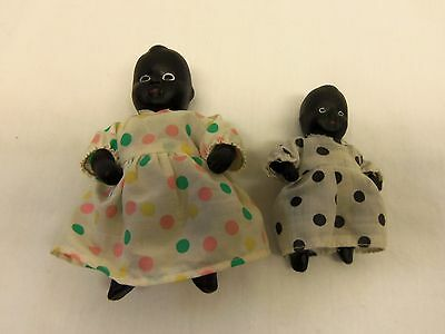 2 Vintage Bisque African-American Dolls...Strung Jointed