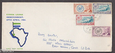 Sierra Leone - 1961 Independence 1st day cover with 4 stamps mailed to USA