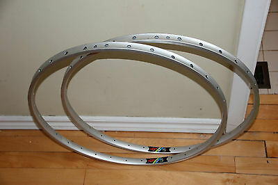 """NOS Vintage Pair of Wolber TR-1 26"""" MTB Tubular Alloy Rims 32H silver doublewall"""