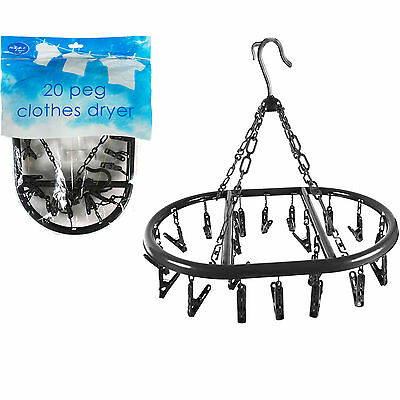 20 Peg Plastic Clothes Dryer Home Indoor Hanging Washing Line Dryer Laundry