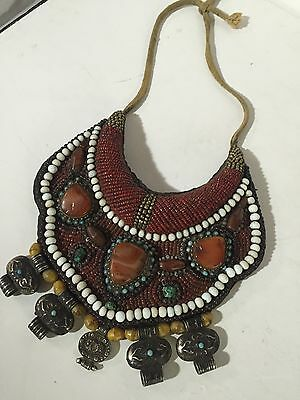 Antique Tibetan Tribal Beaded Collar Coral Turquoise Agate Breastplate necklace