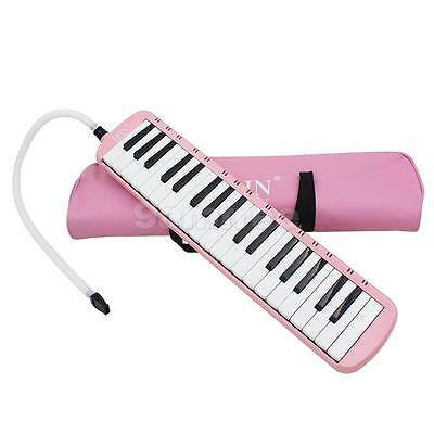 37 Key Melodica Piano Keyboard Style Wind Instrument With Carrying Bag Pink