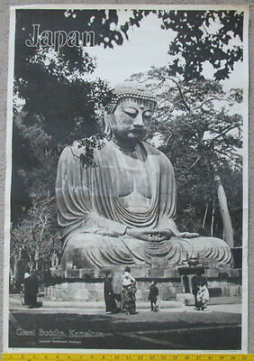 ORIGINAL 1930s Travel Poster For JAPAN w Statue of Great Buddha Kamakura by JGRy