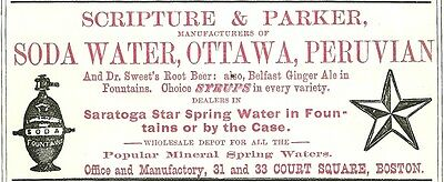 1879 Scripture & Parker, Boston, Mass Soda & Mineral Water Color Advertisement