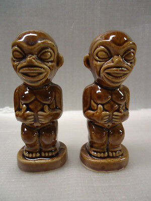 Koh Tiki Salt and Pepper Brown Shakers with Stoppers