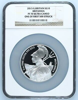 2015 Britannia £10 Silver Proof 5oz Coin NGC PF70 UC one of 1st 500 struck Rare!