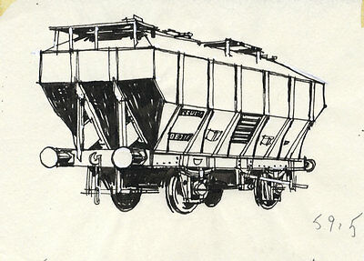 Paul Sharp - Mid 20th Century Pen and Ink Drawing, Railway Stock