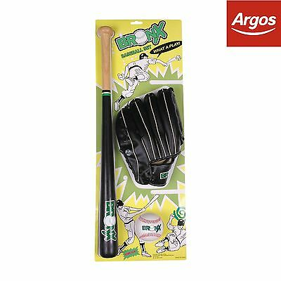 Bronx Wood Bat Ball and Glove Baseball Set. From the Official Argos Shop on ebay