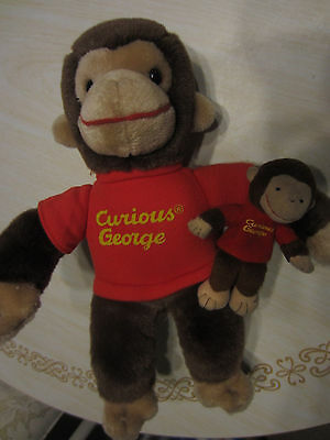 "Gund Curious George MONKEY Stuffed Animal 13"" TALL & FINGER PUPPET LOT 2"