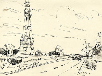Paul Sharp - Mid 20th Century Pen and Ink Drawing, Roadside Monument