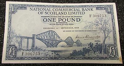 1959 + National Commercial Bank of Scotland Limited £1.00 Banknote