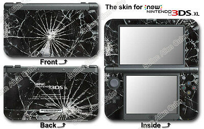 Shattered Broken Glass Amazing Cool Skin Sticker Decal for NEW Nintendo 3DS XL