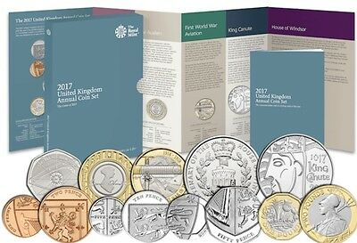 New 2017 Royal Mint Annual 13 Coin Set with 12 sided pound £1, BUNC New