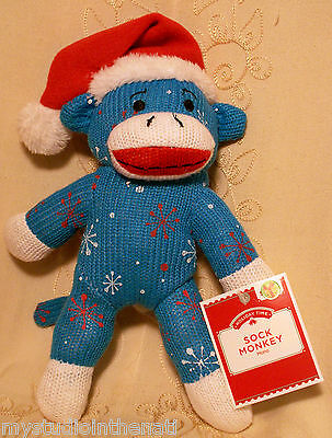 "Dan Dee RED WHITE BLUE SOCK MONKEY SNOWFLAKES 10"" Plush Stuffed Toy~Holiday Time"