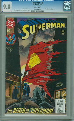 """Superman 75 CGC 9.8 NM/M White Page DC 1993 Classic """"Death"""" of Superman Doomsday"""
