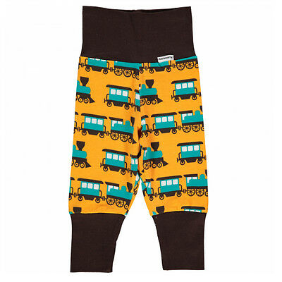 Train print organic cotton baggy trousers by Maxomorra