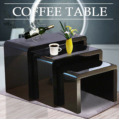 High Gloss Black Set of Three Black Curved Glass Nesting Coffee or Side Tables