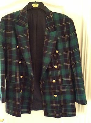 Vintage Marks and Spencer Pure New Wool Blue &  Green Blazer Size 10/12