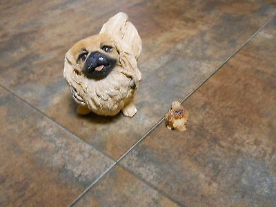 Lot of 2 Statues or Figurines of Pekingese Dogs