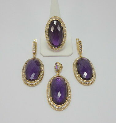 925 Sterling Silver Craftsman Jewelry Amethyst Accented Ladie's Set