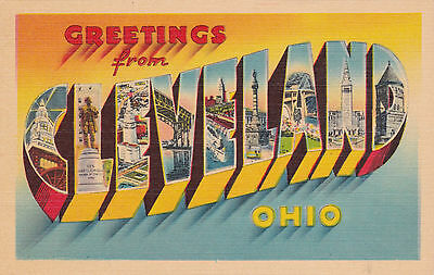 """Large Letter Greetings """"CLEVELAND"""" , Ohio, 30-40s"""