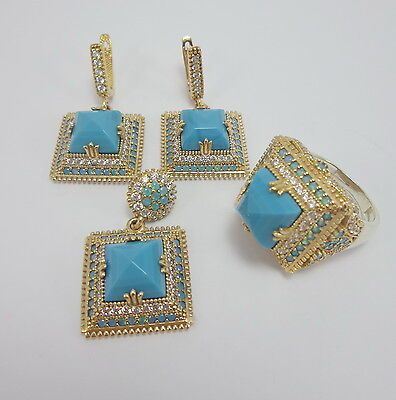925 Sterling Silver Craftsman Jewelry Turquoise Accented Full Set