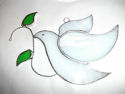 Handmade Stained Glass window decoration dove of peace