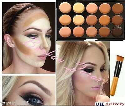 15 Color Concealer and Contour with Brush Face cream Make up kit, Palette #2