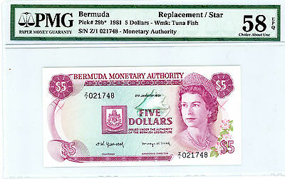 Bermuda … P-29b … 5 Dollars … 1981 … *AU-UNC*  Replacement PMG 58.