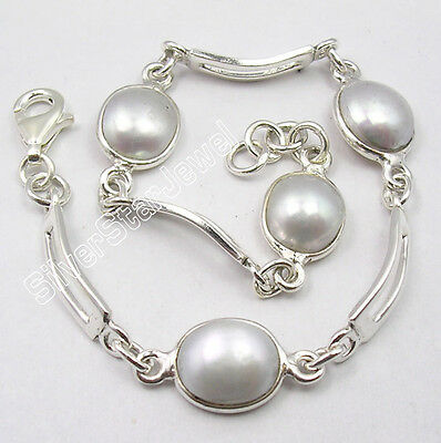 """925 Sterling Silver Amazing AAA FRESH WATER PEARL Bracelet 7 1/2"""" ONE OF A KIND"""