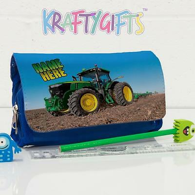 Personalised Tractor Farming Boys Childrens Blue Pencil Case Bag Gift ST753