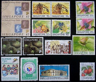 16 Timbres d' Asie  SINGAPOUR 12x - PHILIPINES 3x - MALAYSIE 1x