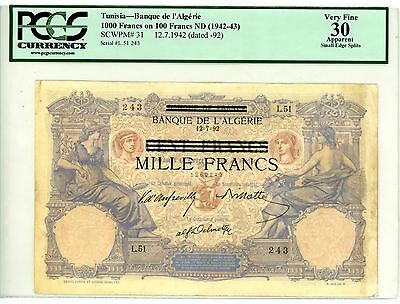 Tunisia ... P-31 ... 100 Francs ... ND(1942-43) ... *VF+* ... PCGS 30