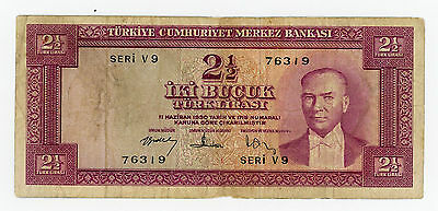 Turkey … P-152a … 2  1/2 Lirasi … L.1930(1957) … *F*