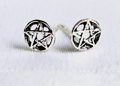 Tiny 925 Silver Interlock Pentagram Pentacle Circle Stud Studs Earrings~Wicca