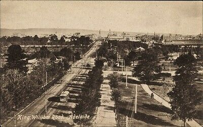 Ak Adelaide Australien, birds view onto the King William Road, tram - 1414304