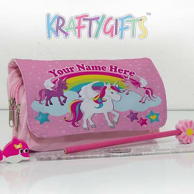 Personalised Cute Pretty Unicorn Girls Childrens Pink Pencil Case Bag Gift EC011
