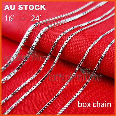 Sterling Silver Sf Womens Girls Kids Plain Box Link Chain Necklace Gift 16-24''