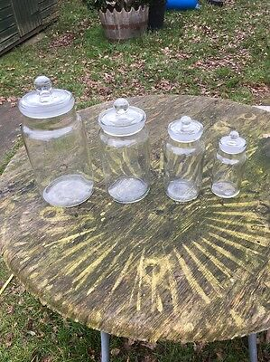 Vintage Glass Storage Jars With Ground Glass Stoppers Set Of 4 British Made